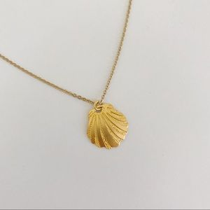 Gold Seashell Clam Necklace